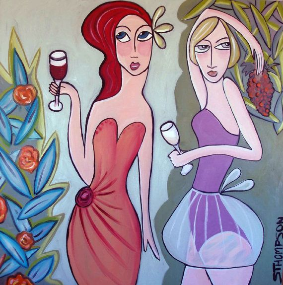 Red and white wine original oil on canvas art by by STHOMPSONSHOP