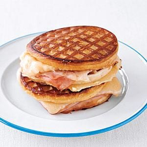 Grilled Ham and Cheese Waffle Sandwiches -  Print this recipe at AmericanFamily.com.