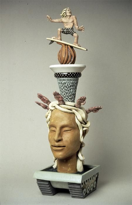 """Ride The Killer Gleam"" by Mark Messinger, a ceramic artist whose sculptures are a melding of folk & fine art."
