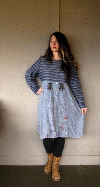 da3af557fb99a Eco upcycled clothing Romantic Tshirt dress Baby doll dress tunic Tattered Bohemian  hippie dress Artsy dress Frock Xlarge-1X plus size