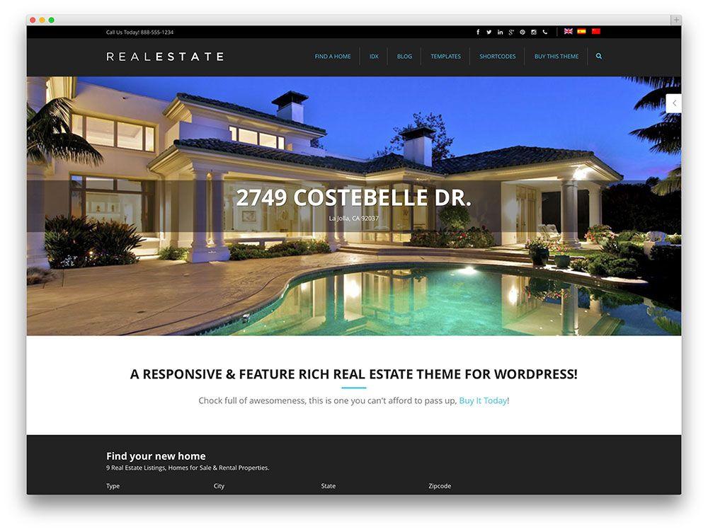 pro real estate 5 WordPress theme | Real Estate Themes | Pinterest