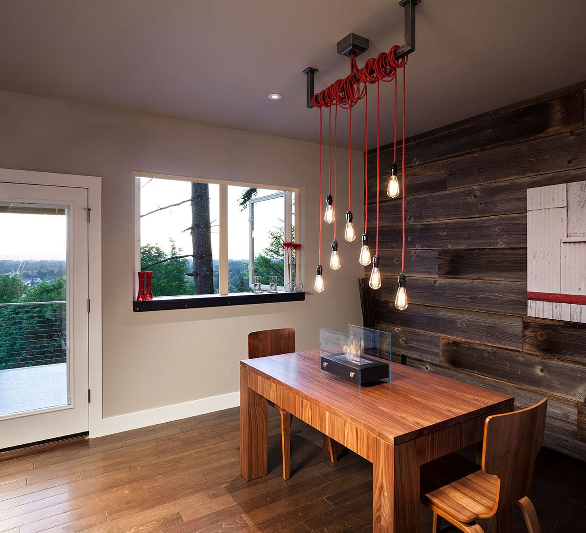 Dining Lighting Rustic Wall Modern Home In Eugene Oregon By Jordan Iverson Signature Homes