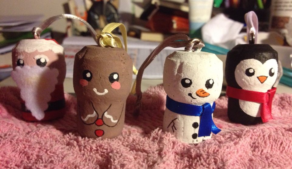 Decorazioni natalizie da tappi di sughero - kawaii ^^