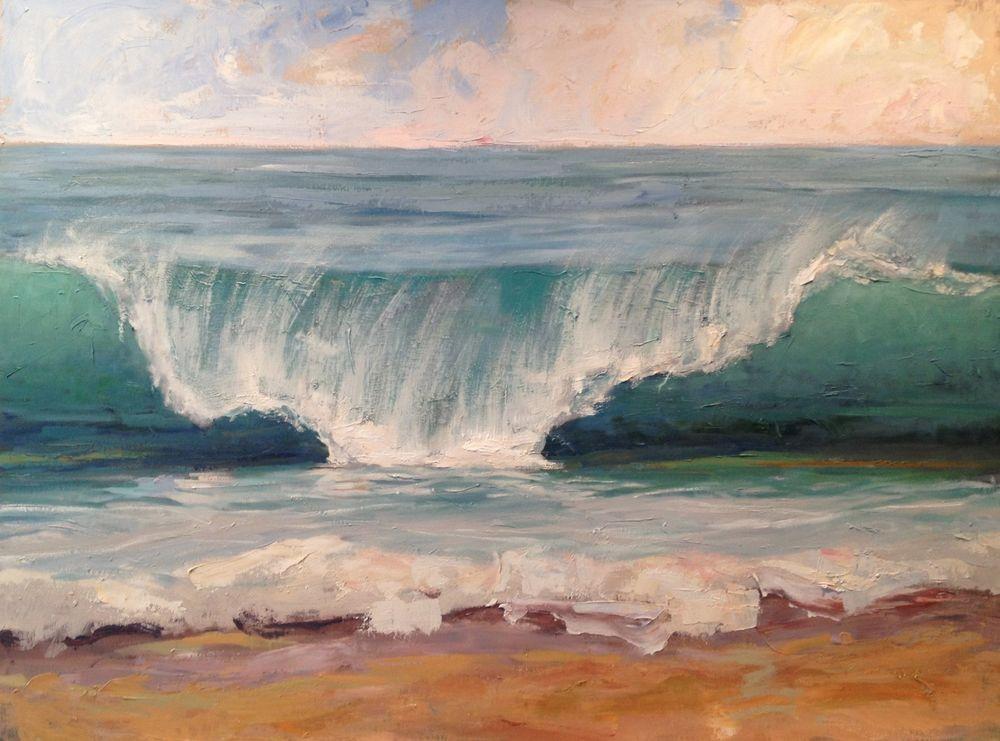 Plein Air Ocean Coastal Beach Waves Surf Art Sun 30 X 40 Original Painting A Day Surf Art Seascapes Art Ocean Painting