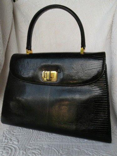 e4728fd25ad78 VTG 50s 60s ITALY black snakeskin kelly leather satchel dress handbag purse