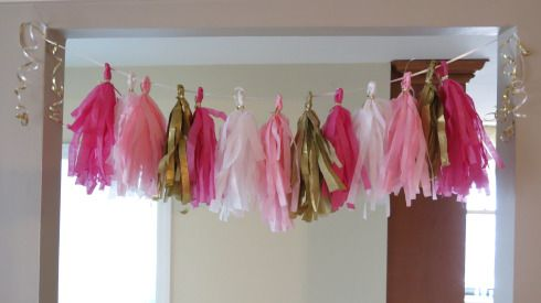 Tissue Paper Fringe banner #partydecor #DIY #craft #holiday #birthday #pinkandgold #caketopper #tablescape #banner #events.