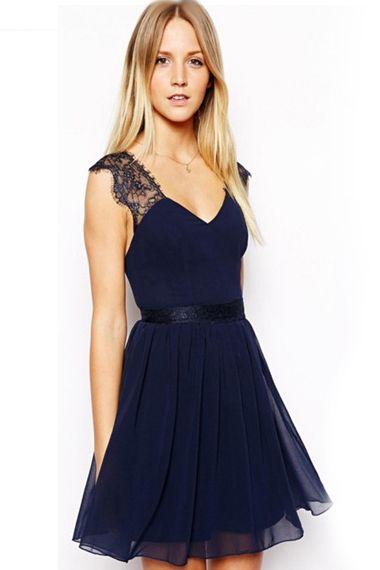 Granatowa Sukienka Rozkloszowana Dekolt Na Plecach Chiffon Lace Dress Cheap Short Prom Dresses Chiffon Mini Dress
