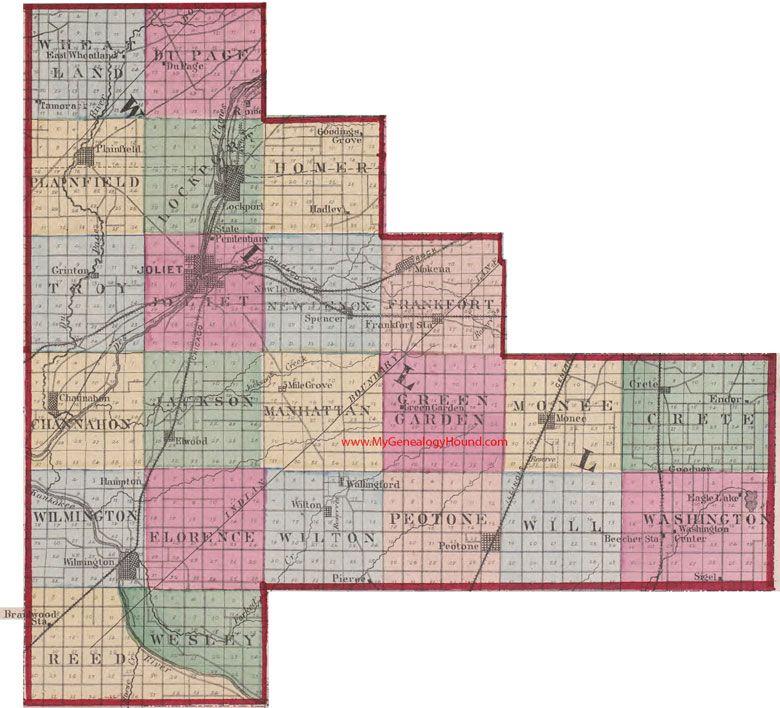 Will County Illinois 1870 Map Joliet Plainfield Lockport