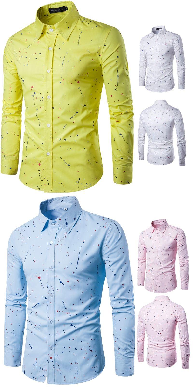 Brand fashion male shirt longsleeves tops printed floral mens
