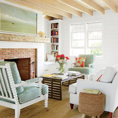 Traditional Beach Cottage Interiors Call For Light Bright Materials Think Painted Textured Shiplap Walls Cypress Ceilings With Exposed Rafters