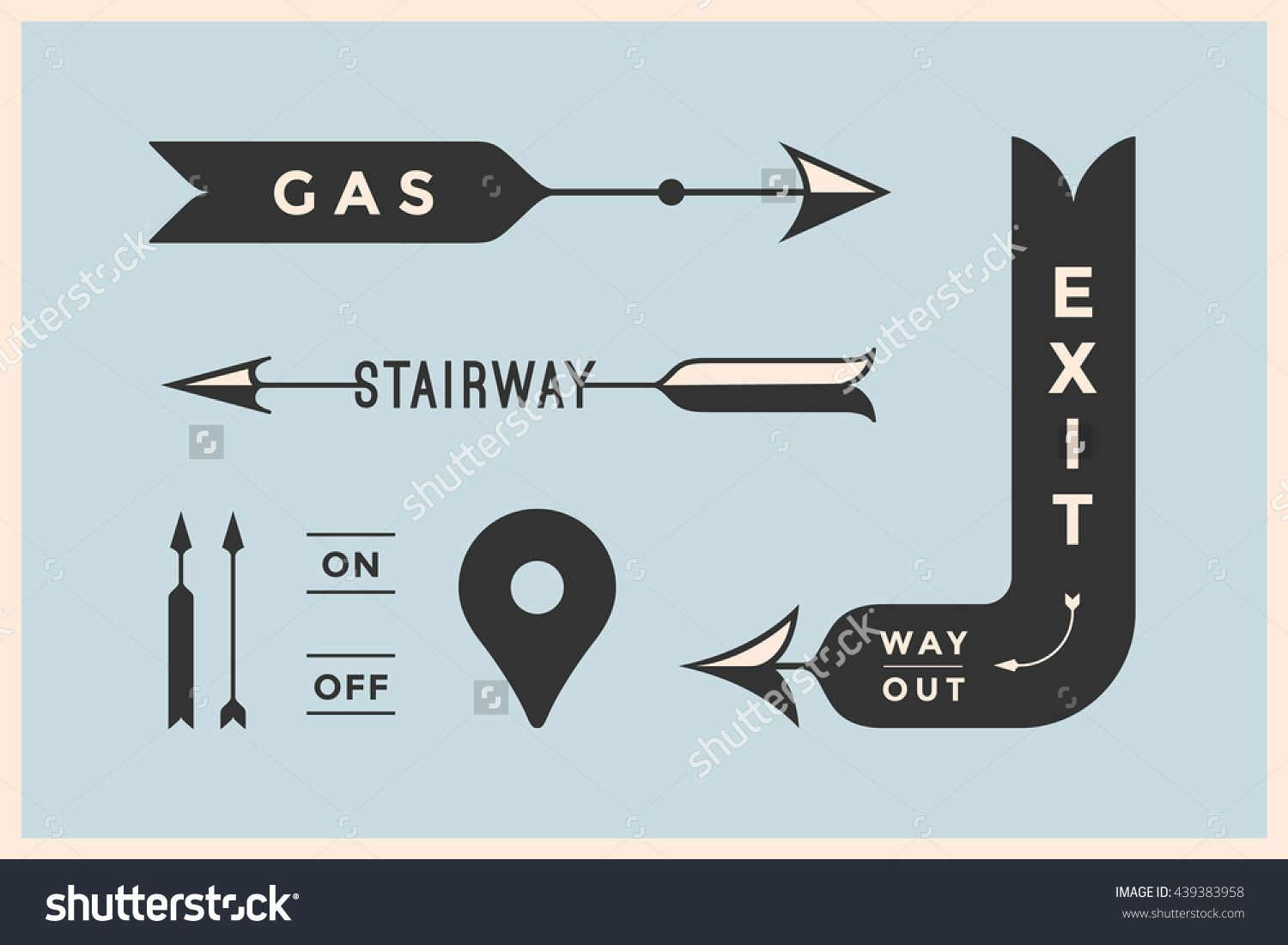 Set Of Vintage Arrows And Banners With Inscription Exit Way Out Gas Stairway Design Elements In Retro Style Arrow Signs On Color Background Vector