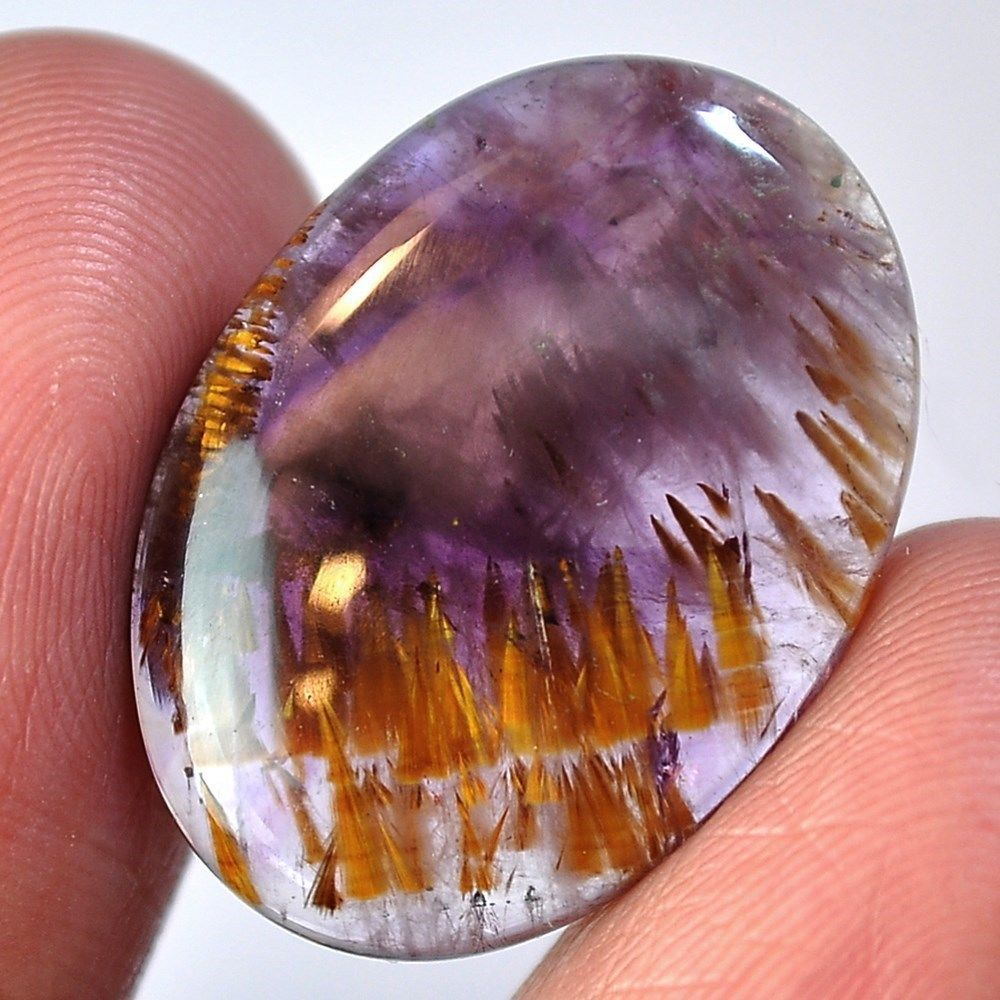 17.5Ct Natural Amethyst Cacoxenite Super 7 Melody Stone (25mm X 17mm) Cabochon #sonatona