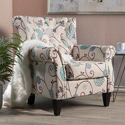 Medford Fabric Club Chair W/ Nailhead Accents (White And Blue Floral)