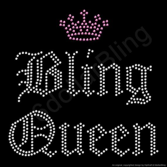 Bling Queen Rhinestone Iron-on Crystal Bling Hotfix Transfer Applique - Make Your Own Shirt DIY!