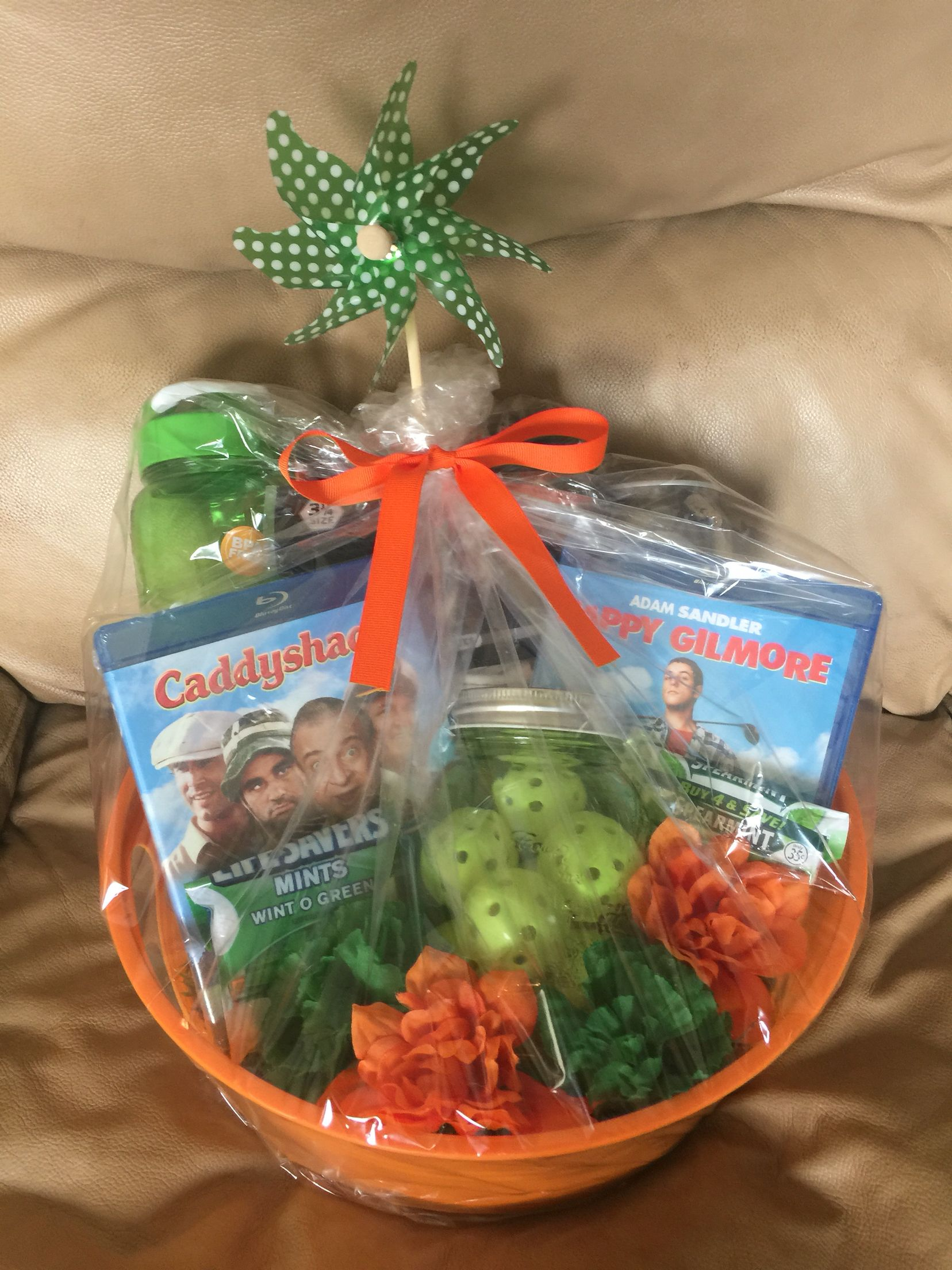 Golf Themed Gift Basket … | Golf gift basket, Golf ...