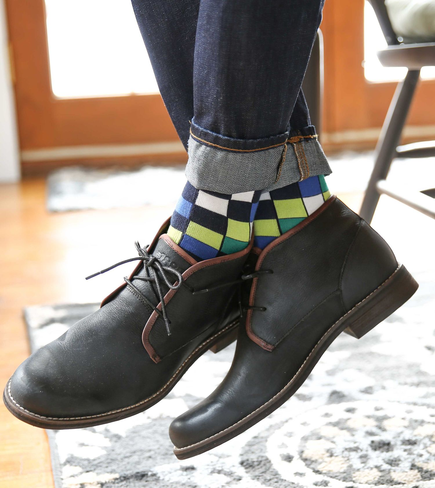 Lime blue white checkered menus dress socks statement sockwear