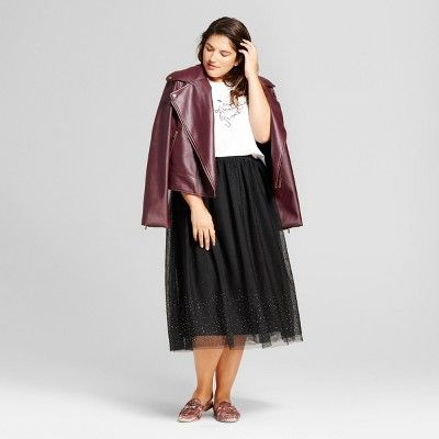c45aaf3e93 Women's Plus Size Embellished Tulle Skirt - A New Day Black 1X ...