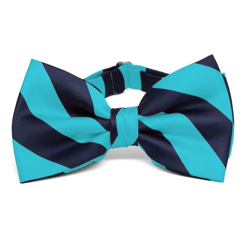 Turquoise and Navy Blue Striped Bow Tie | Turquoise ...