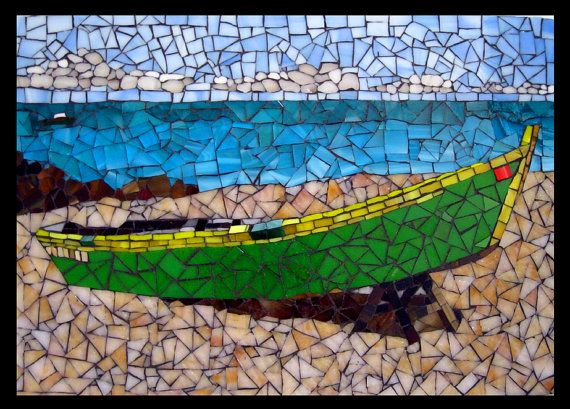 "16.5"" ""Island Bliss"" Tranquil Mosaic Tile Caribbean Seascape Stained Glass FREE U.S. Shipping"