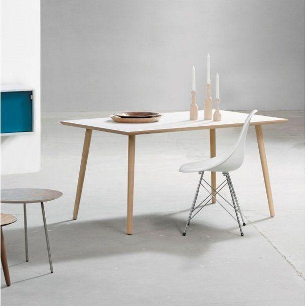 DT 110 - spisebord, hvid laminat med egeben