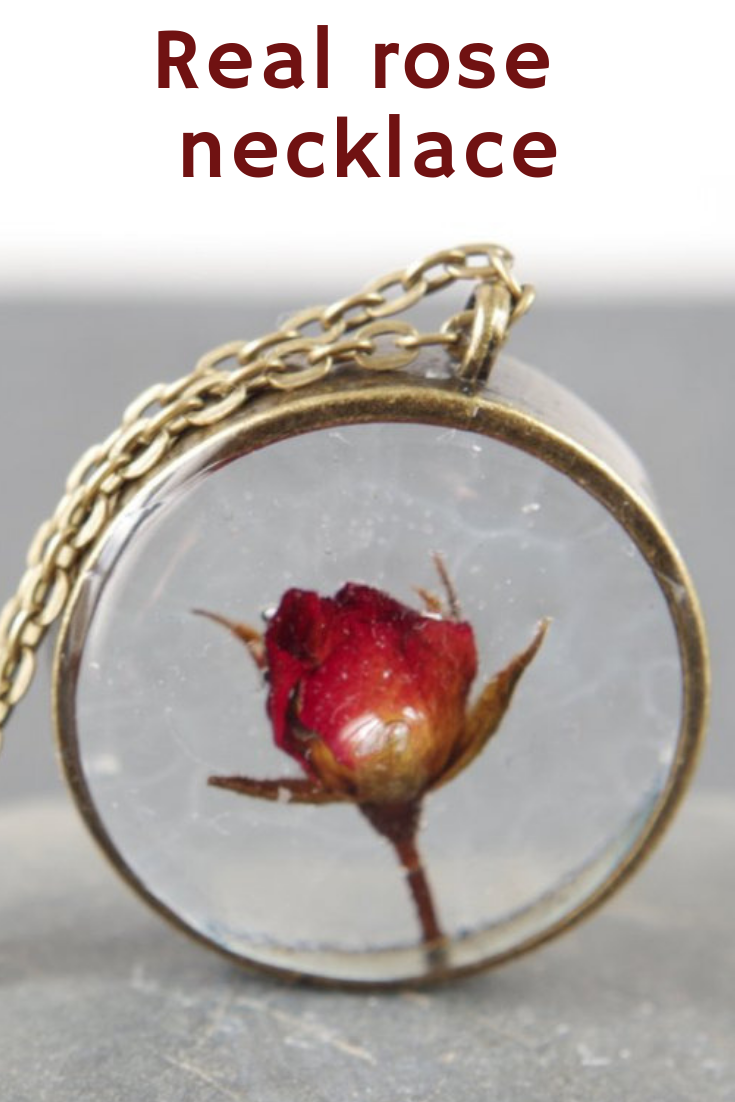 Real Rose Necklace Real Flower Jewelry Red Rose Pendants Dried Etsy Real Flower Jewelry Flower Jewellery Rose Pendant