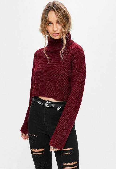 a1477f902 Burgundy Roll Neck Knitted Crop Sweater