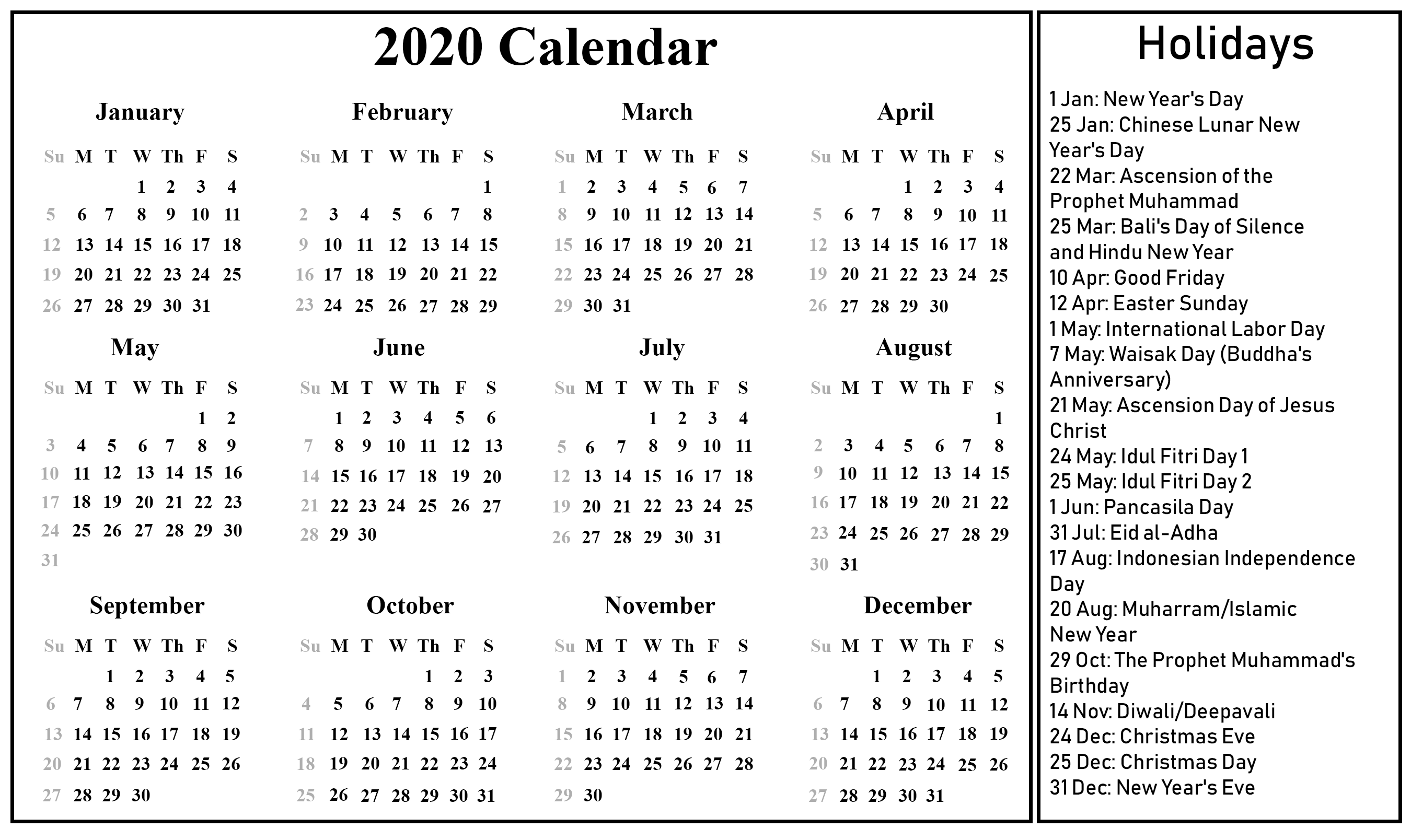 2020 Printable Calendar Template with Holidays (With