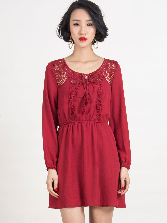 Red vneck crochet long sleeve plain chiffon dress choies