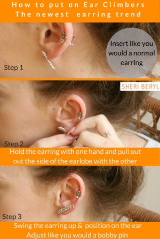 How To Put On Ear Climbers The New Earring Fashion Trend Sheri
