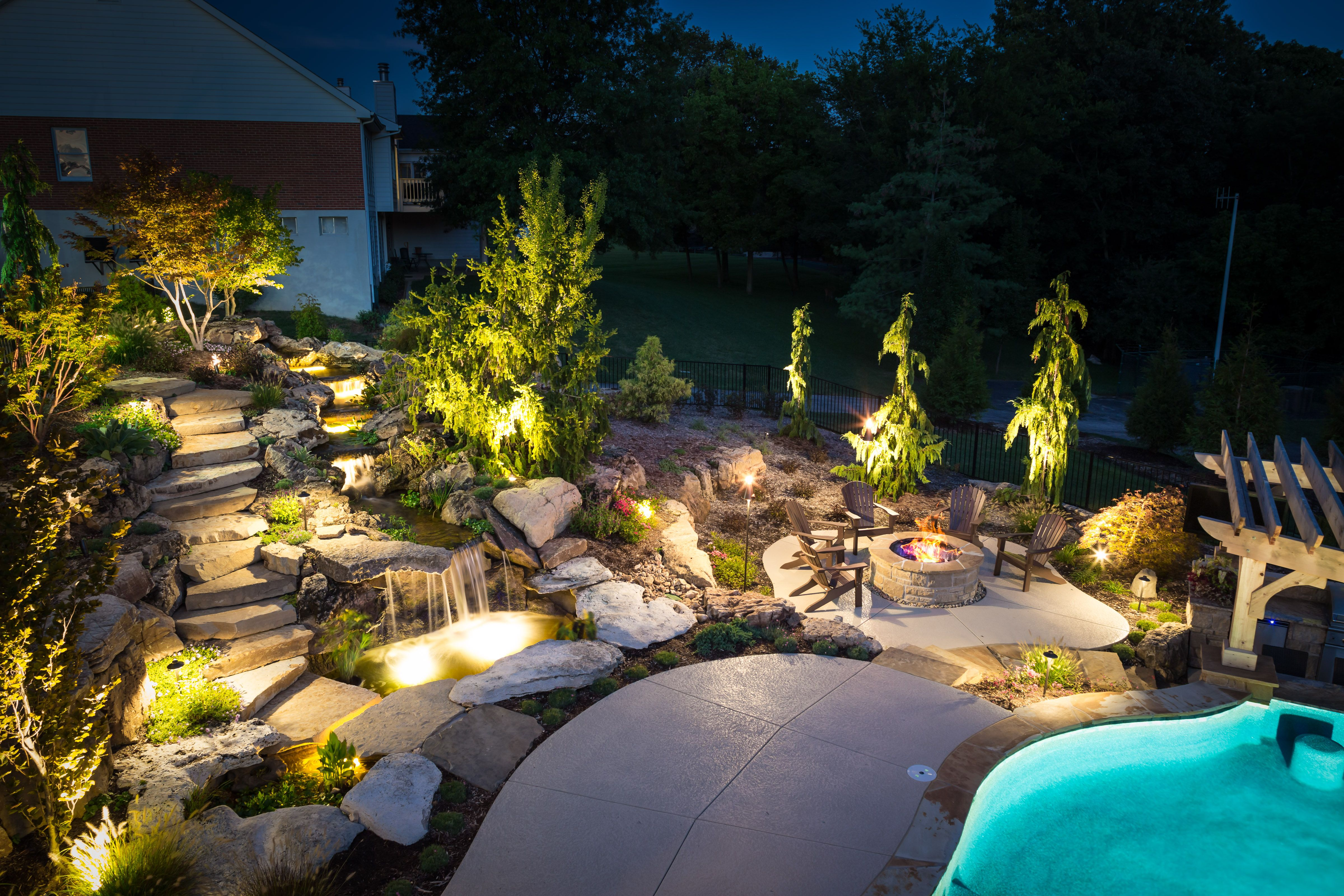 Pool Outdoor Kitchen And Waterfall In St Louis Mo Outdoor Design Backyard