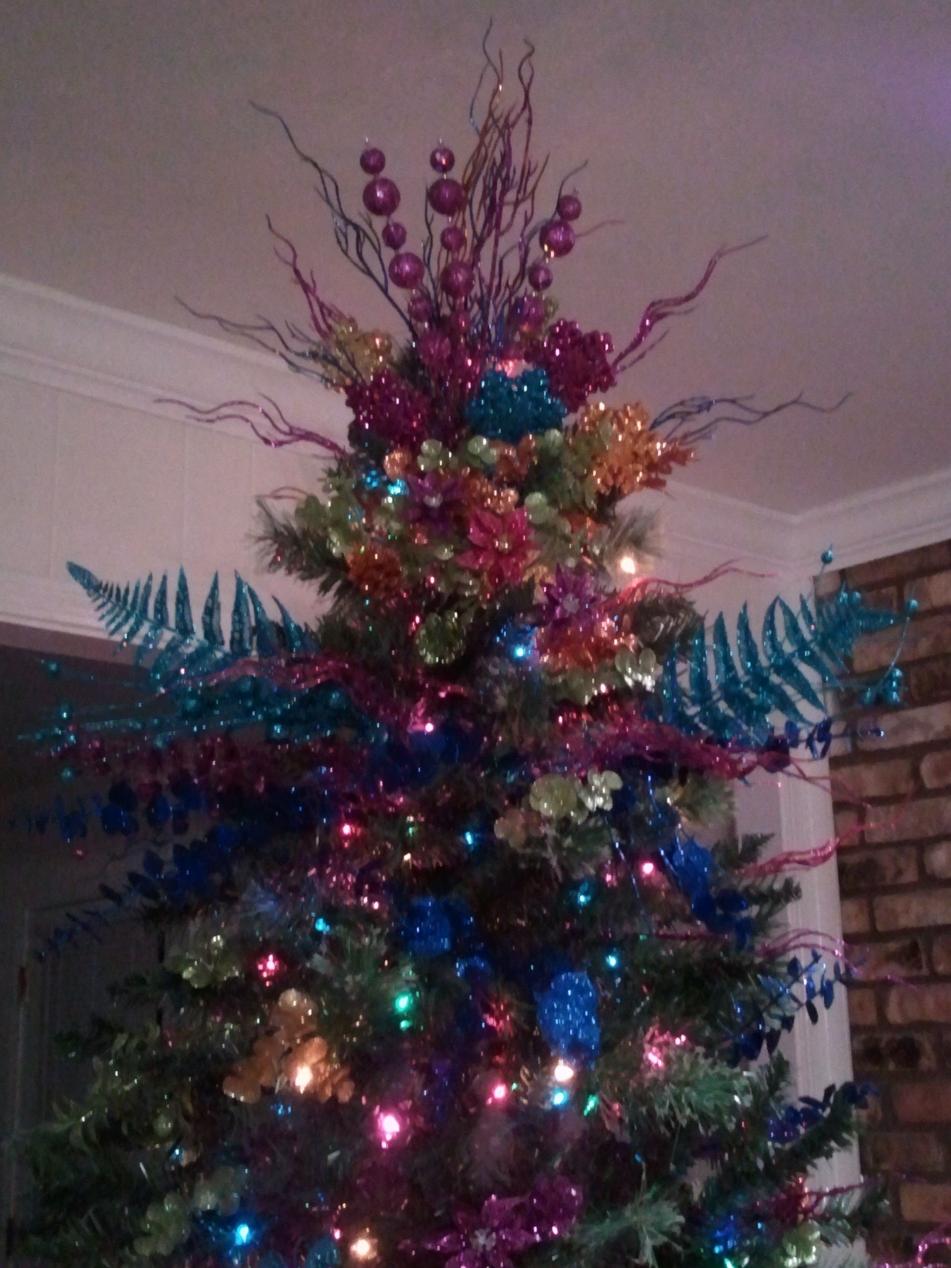 Floral Picks For A Christmas Tree Topper Floral Christmas Tree Purple Christmas Tree Christmas Tree Toppers