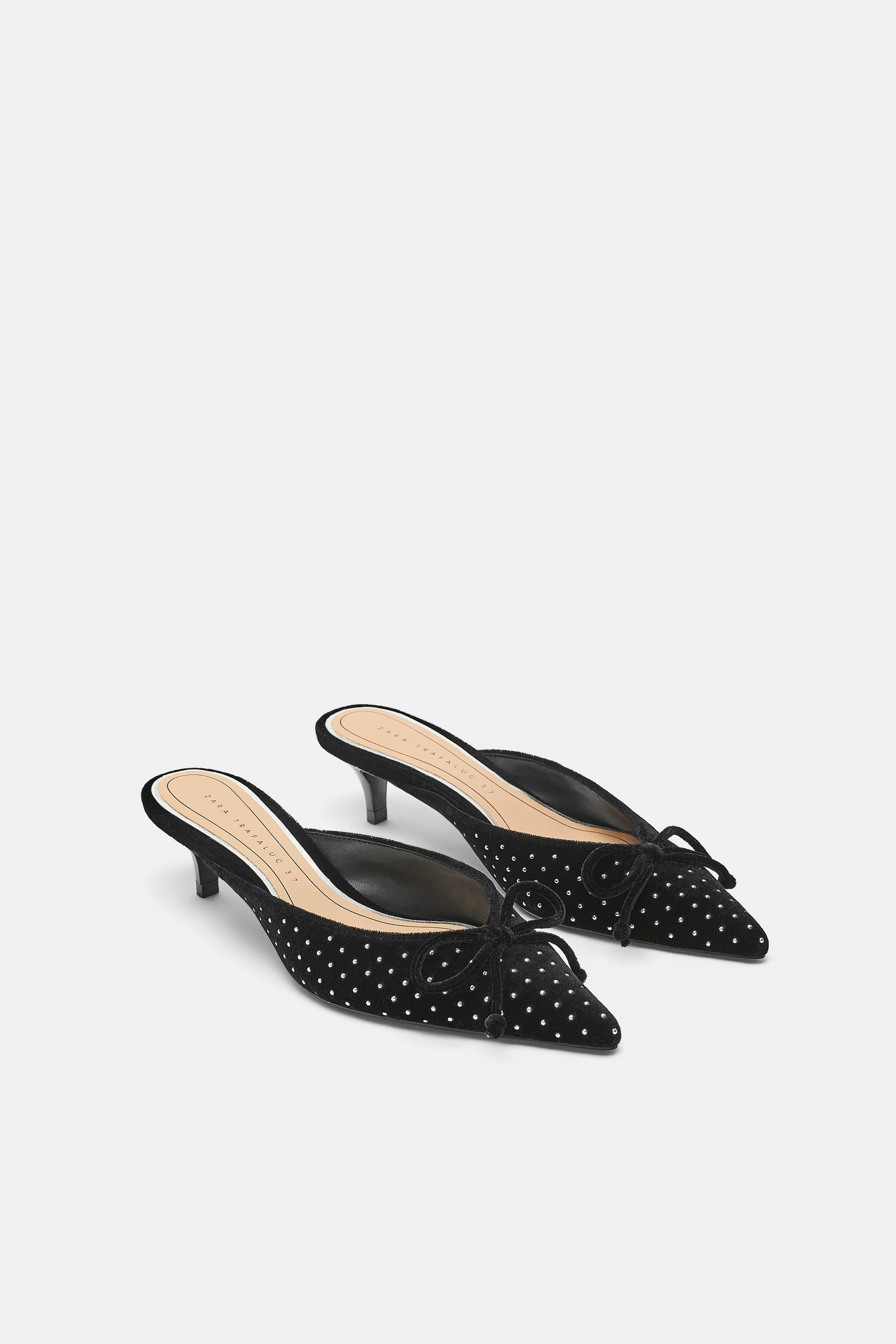 e01934a29a73 Image 1 of STUDDED VELVET MULES from Zara Heeled Mules