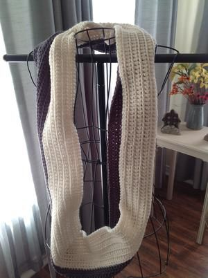 31.5 in. two-toned crocheted infinity scarf. Charcoal gray and Ivory.