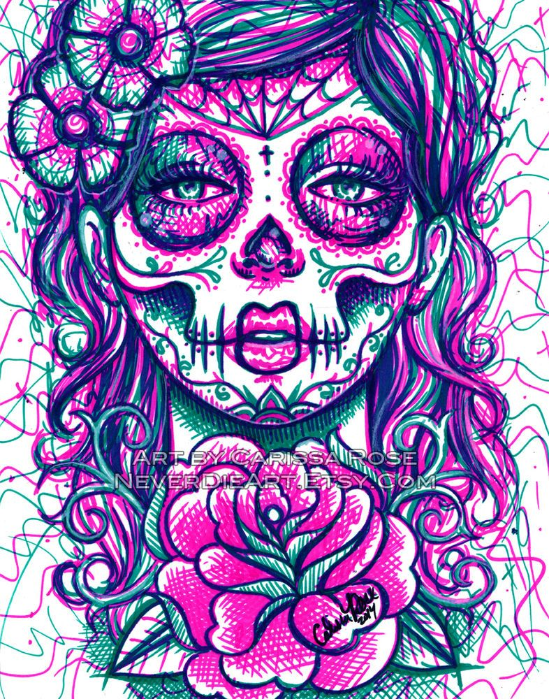 tattoo art day of the dead girl flash sugar skull signed 8x10 in art