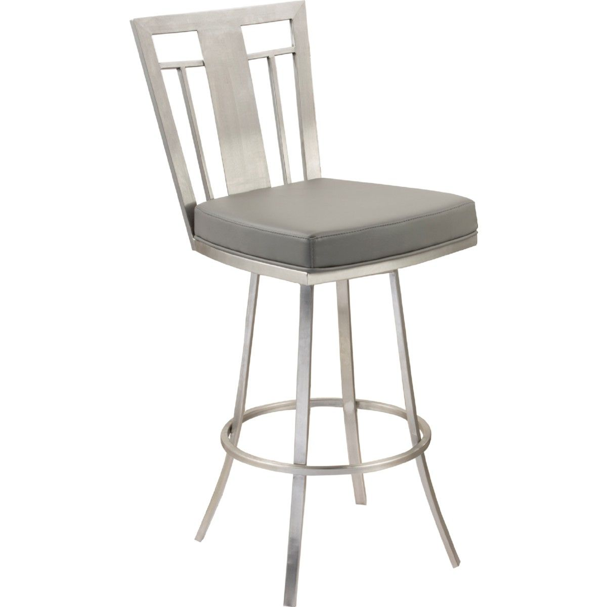 Armen Cleo 26 Modern Swivel Bar Stool Gray Leatherette Stainless Steel Bar Stools Swivel Counter Stools Stool