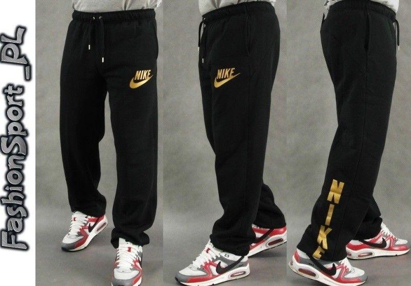 Nike Spodnie Dresowe Bawelniane Zlote Logo Sweatpants Fashion Pants