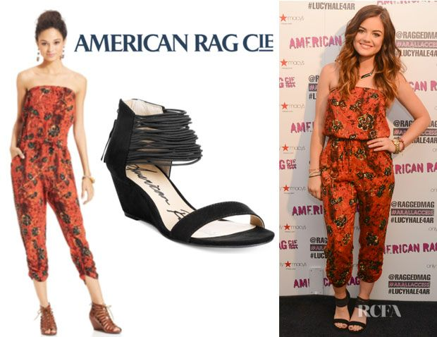 3a2d9d24944 Lucy Hale s American Rag Strapless Tie-Dye-Print Jumpsuit And American Rag   Carllie Demi  Wedge Sandals