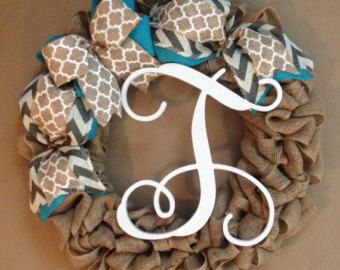 burlap monogram wreath burlap wreath by Studio31TenGifts on Etsy