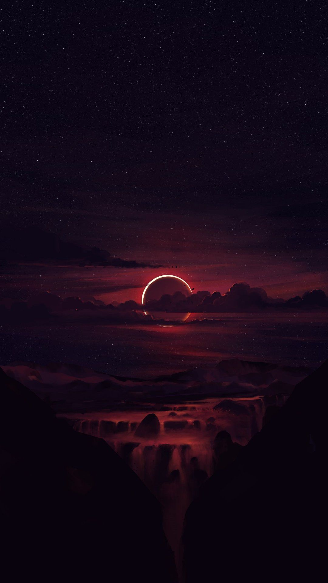 Ultra Hd Night Moon Outline Vision Sunset Wallpaper Iphone