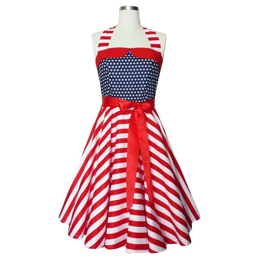 50s AMERICAN FLAG USA VINTAGE RETRO PIN UP ROCKABILLY PARTY DRESS ...