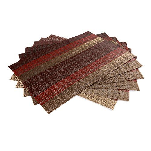 Sicohome Placemats Set Of 6 Soft Crossweave Woven Vinyl Placemat Multi Colored Red Woven Placemats Placemats Dark Wood Table