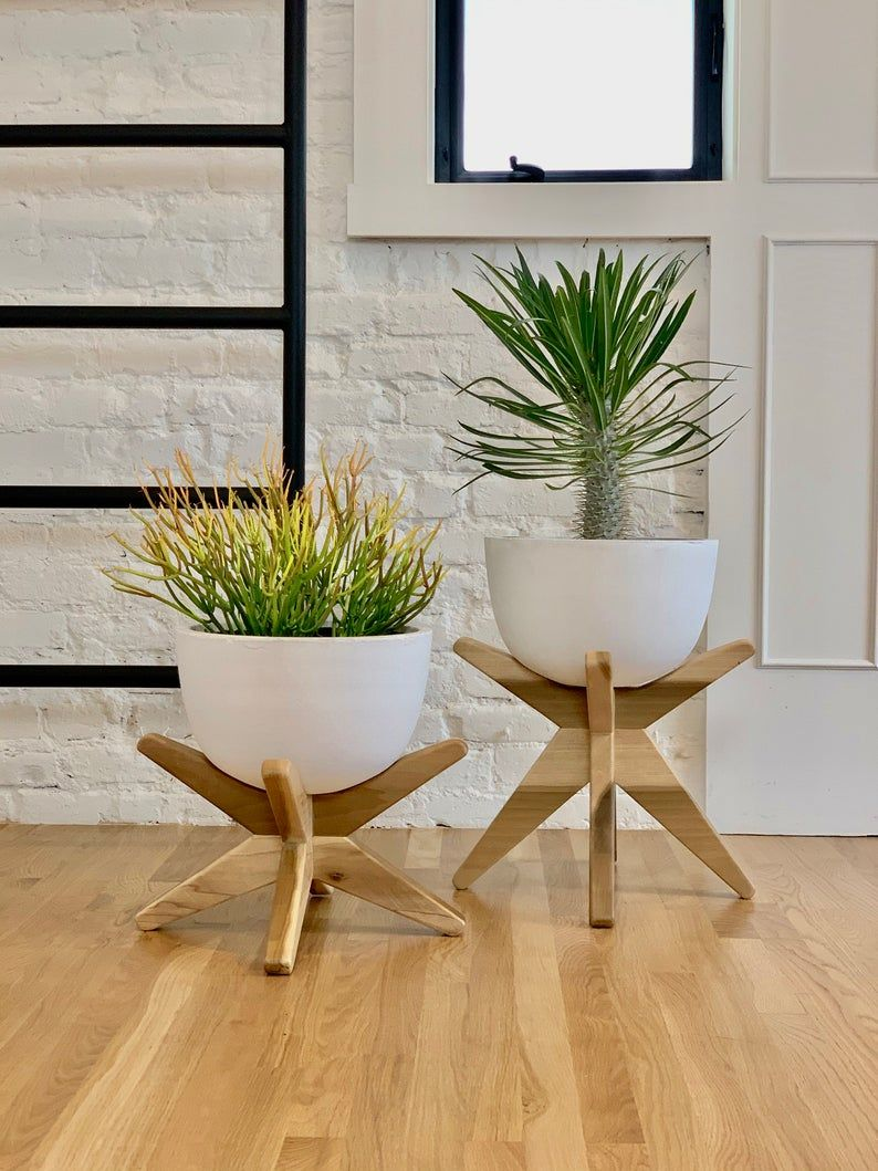 The Cortez XL with Stand  - Concrete Planter, Plant Stand, Wood Planter, Pots