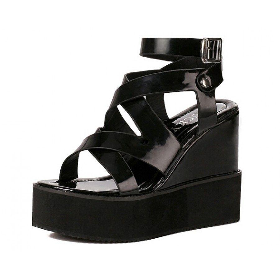 Black patent sandals uk -  Korean Patent Black Platform Wedge Strappy Sandals 37 99