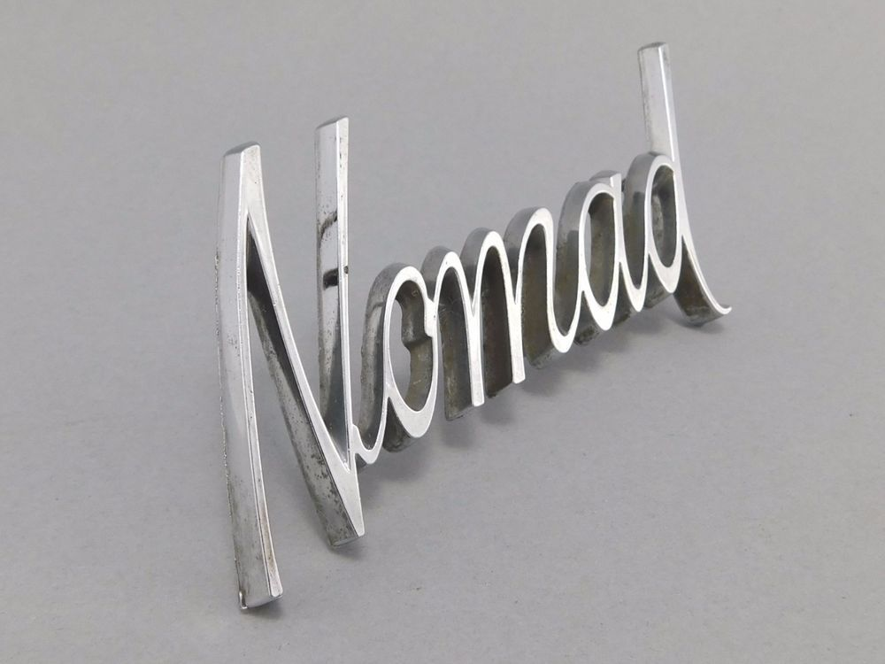 Original 1970 Chevy Nomad Quarter Badge Chrome Script Logo GM Part #9816719