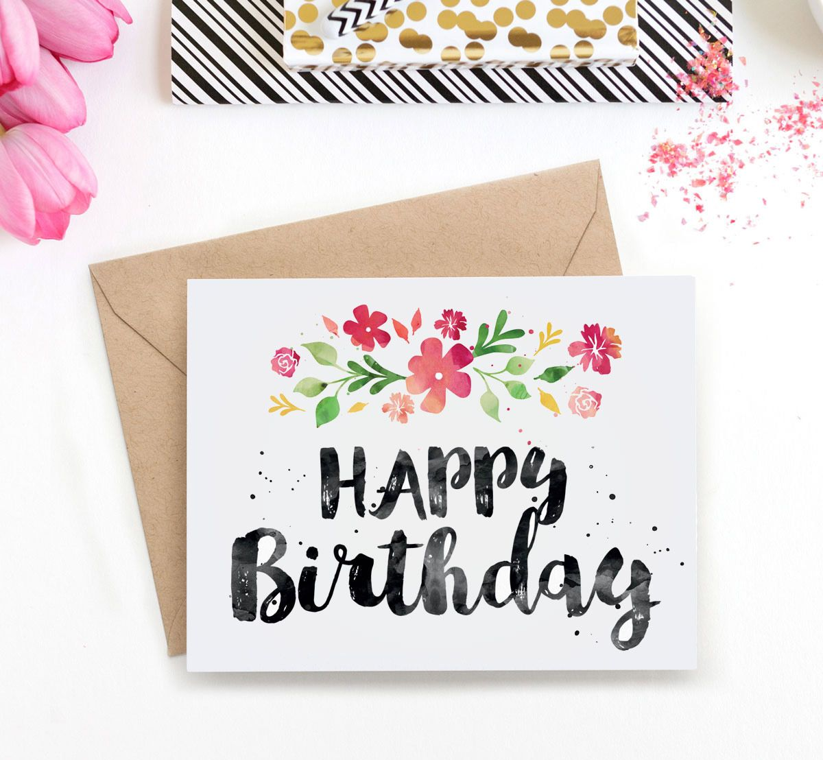 Surprise Her With This Beautiful Watercolour Birthday Card Download The Printable And Print As Many Times You Like