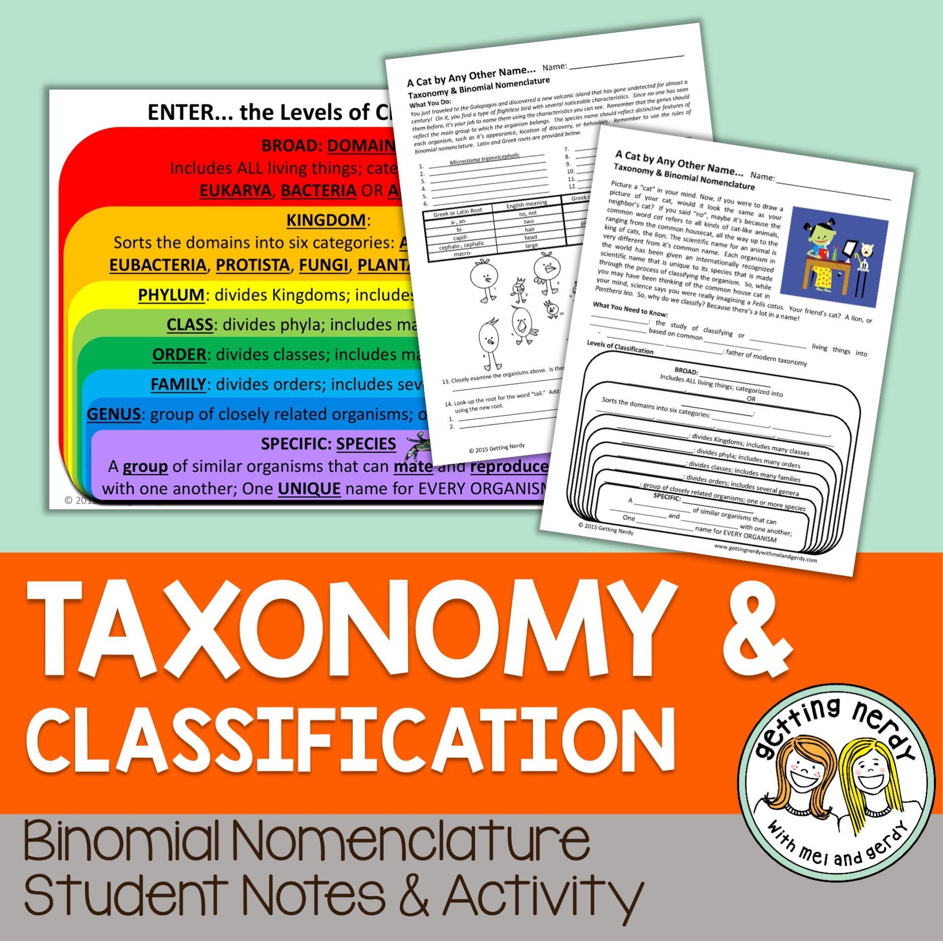 Binomial Nomenclature Notes Amp Activities
