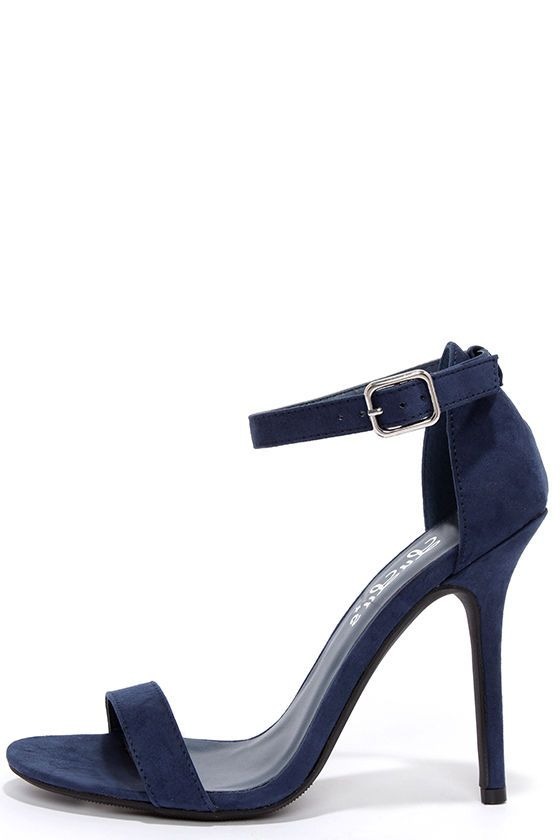 Elsi Navy Blue Single Strap Heels | Toe band, Suede heels and ...