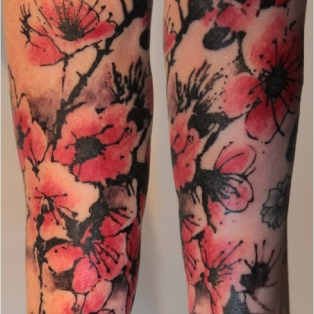 Black Tattoo With Single Color Shading Cherry Blossom Tattoo Blossom Tattoo Poppies Tattoo