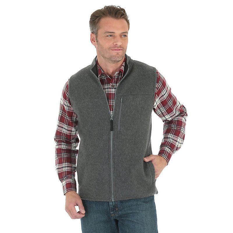 Wrangler Men's Knit Vest:Dk Char Heather (Size: Medium) Grey