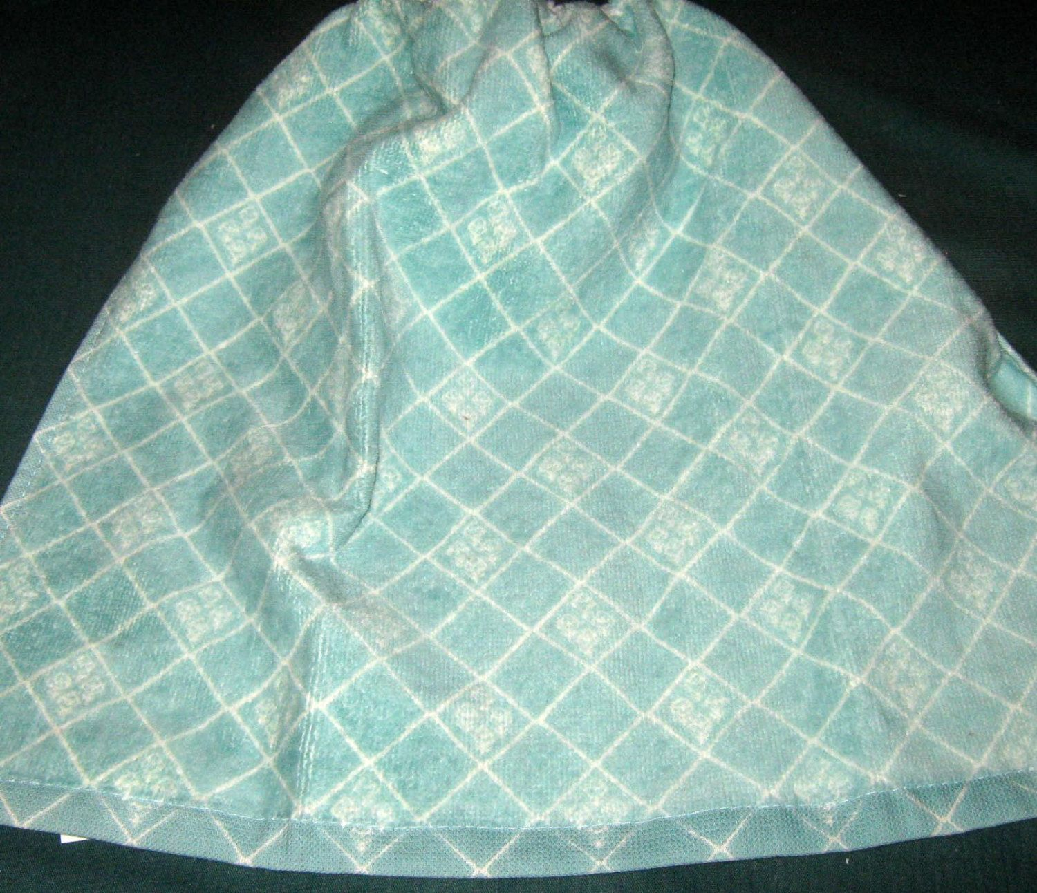 Crochet Kitchen Hanging Towel, Aqua with white lines, white crochet top